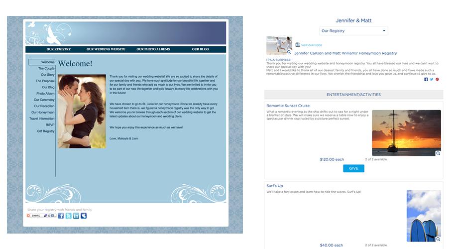 Sample Wedding Registry | Honeymoon Registry